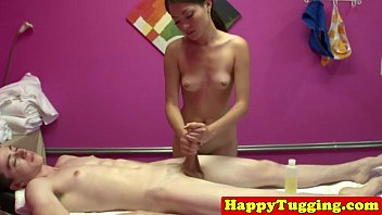 cock tugs hard masseuse on asian Dirty girl gets cum all over her